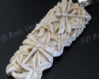 "3 3/4"" Hand Made Dragonfly Orchid Flower Deer Antler 925 Sterling Silver Pendant"