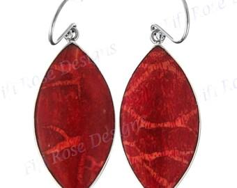 "1 1/2"" Teardrop Red Coral 925 Sterling Silver Earrings"
