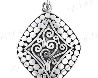 "1 7/16"" Bali Handcrafted 925 Sterling Silver Pendant"