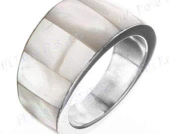 White Mother Of Pearl Shell 925 Silver Band Us 9 Ring