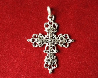Amazing silver sterling fench / czech 19th century marcasite stone cross
