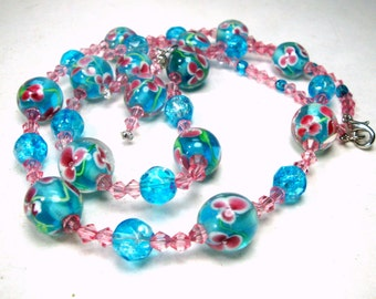 Turquoise and Pink Flower Necklace Set, Pastel Italian  Art Glass Beads n Dangling Earrings, OOAK 1980s