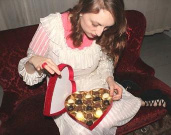 SALE | 1970s Love Letters Dress | Vintage 70s Ruffled Stripe Maxi Dress | Romantic White Dress | Medium M