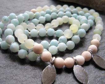 3 breaths mala - matte amazonite, serpentine, river stone & sterling silver