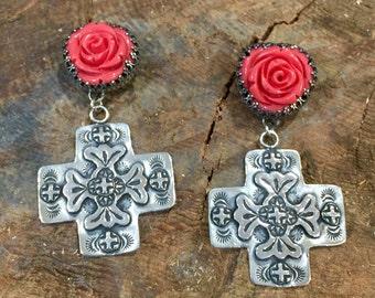 E71 Hand Carved Rose Coral atop the Santa Fe Cross Southwestern Native Santa Fe Style Earrings