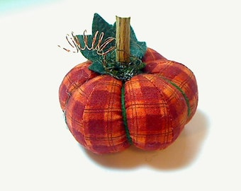 Size 1 |Orange Plaid Pumpkin | Halloween | Thanksgiving | Fall Decor | Holidays | Handmade | Pin Cushion | Table Decor | Stuffed Pumpkin #7