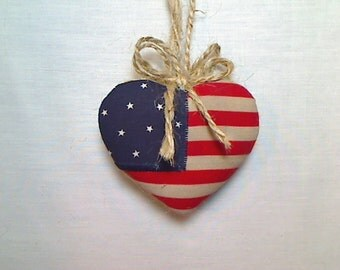 Americana Heart Ornament | Valentines Day | Spring Decor | Party favor | July 4th | Tree Ornament | Holidays | Decoration | Handmade | #1