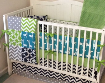 Lime Green Gray Turquoise and Navy Baby Boy Crib Bedding Ready to Ship