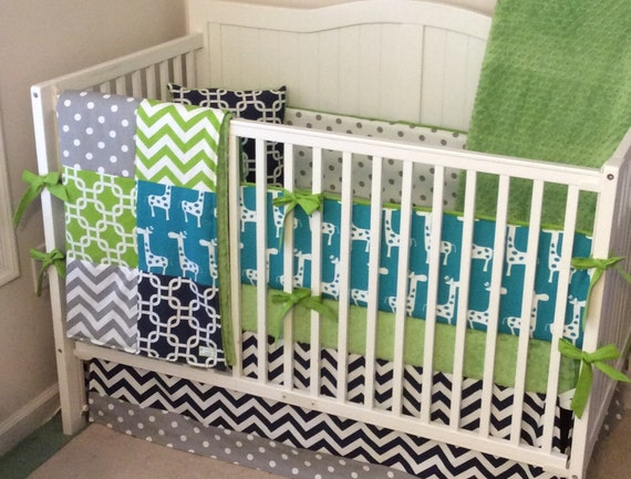 Lime Green And Gray Bedding: Lime Green Gray Turquoise And Navy Baby Boy Crib Bedding Ready