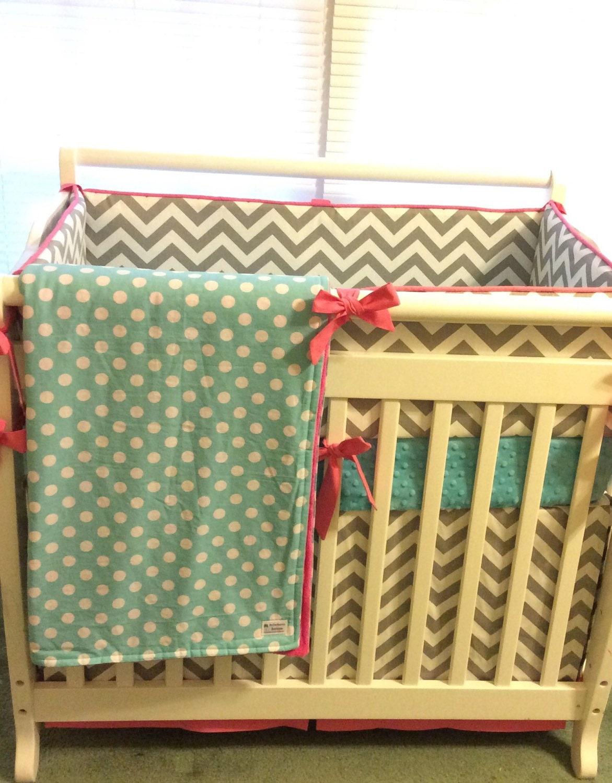 Baby Girl Mini Crib Bedding Made To Order Pink Aqua Gray