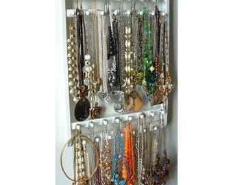 "Elegant Necklace Holder, Hangs 30 - 120 Necklaces, ""Choose Your Stain"", Oak Hardwood, Wood Jewelry Organizer Display, Wall Mounted"