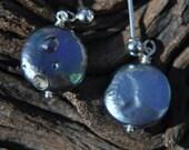 Coin Pearl Earrings - Black Pearl