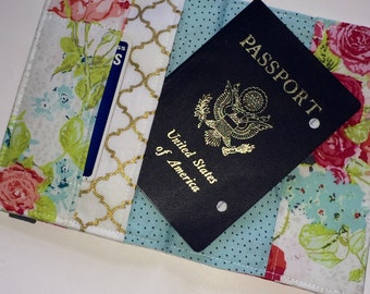 Passport Cover and Luggage Tag, Beautiful Rose Bouquet Print, Feminine Passport Wallet and Luggage Tag, passport cover, vegan