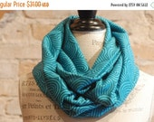 SALE Turquoise Blue Swirls Infinity Scarf - Cotton Jersey Fabric - Modern Fashion Accessory - Women Tweens Teens