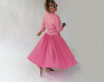 Marilyn Monroe's style skirt, swing pink circle pin up long skirt, vintage 50s, 60s, rockabilly jazz skirt, tea party steampunk large skirt