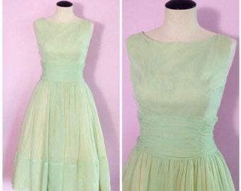 Vintage 1950s Seafoam Green Party Dress M L