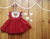 Baby girl valentines dress - 6 months Valentine's Day dress - little girl dress valentines gift baby girl dress kids Peter Pan collar dress