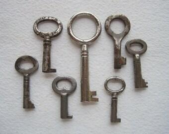 7 Vintage Skeleton Keys, Antique Skeleton Keys, Antique Key Collection, Jewelry Supply