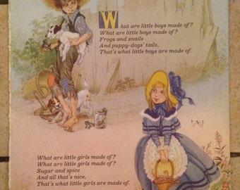 1981 What Are Little Boys/Girls Made Of Or London Bridge Vintage Illustration