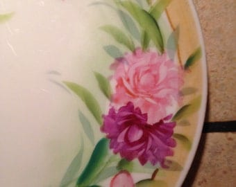 Purple and Pink Flower Hand Painted Dessert Plate