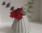 wheel thrown FLUTED Vase, handmade pottery, stoneware vase, flower vase