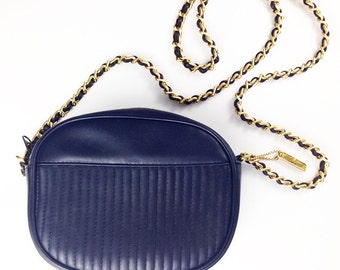 90s chain strap little small bag purse navy blue leather