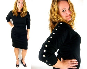 amazing vintage 80s / 90s  black dress / dolman / mirror sleeves