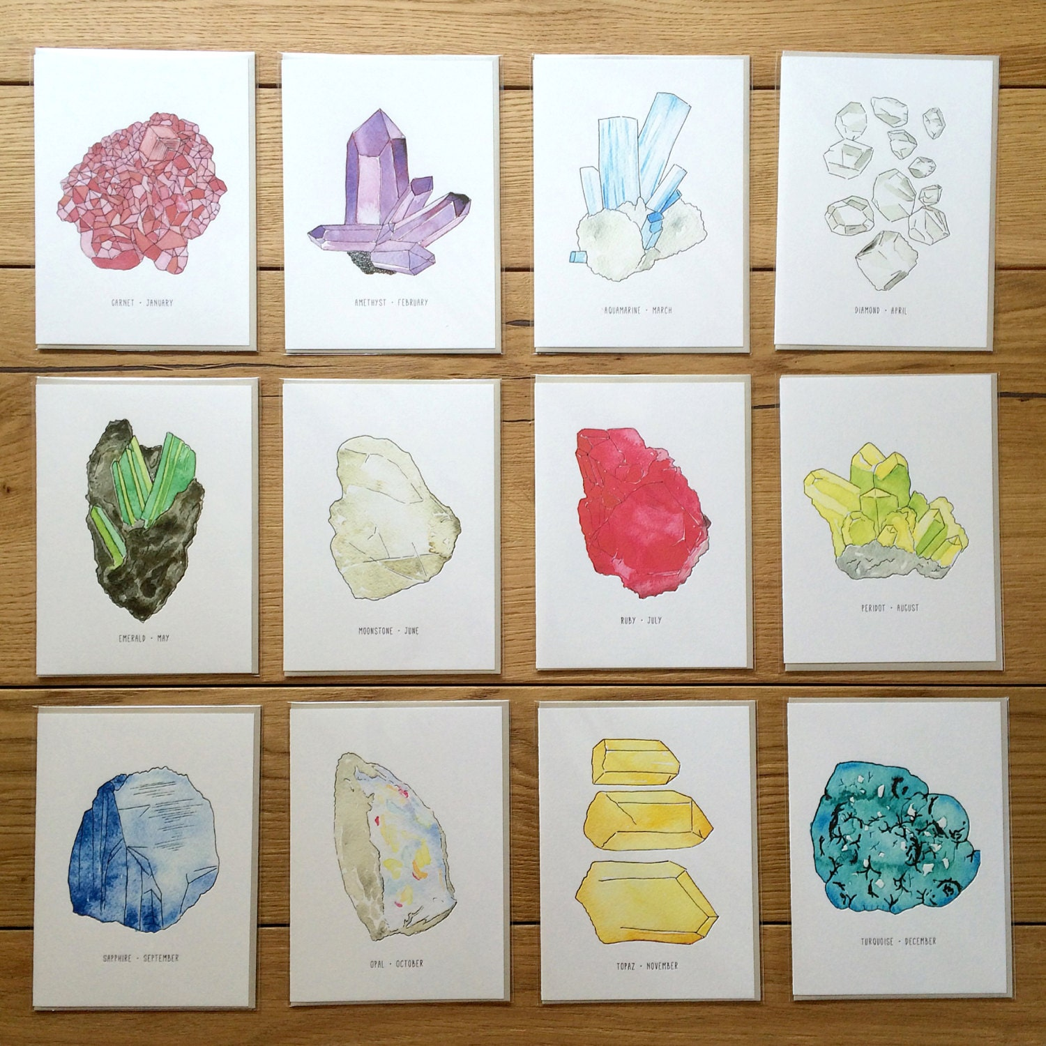 Set of 12 - Birthstone Greeting Cards