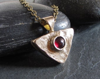 Rough bronze and red garnet pendant necklace// gemstone pendant / rustic pendant / bronze pendant / rough pendant / rustic jewelry