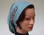 Organic Cotton Snood | Chemo Headwear | Women Snood | Hat Snood | Dusty Aqua | Cancer Hat | Modesty Haircovering | Alopecia Hat | Med. to L