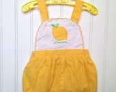 3-6 month vintage yellow polka dot lemon romper girl