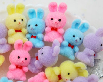 Flocked Bunny - 39mm Pastel Flocked Mini Bunnies Colorful Little Miniature Fuzzy Soft Rabbit - 4 pc set