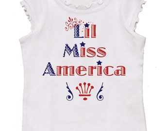 Miss America Girls 4th of July T shirt Newborn Up to Youth Shirts Baby Girl Rompers