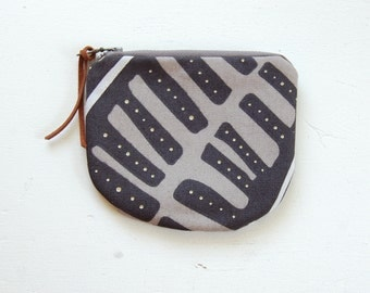 Black Square Leaves Padded Round Zipper Pouch / Coin Purse / Gadget / Cosmetic Bag - READY TO SHIP