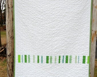 Green Strip Modern Patchwork Baby Toddler Child Crib Quilt / Blanket - READY TO SHIP