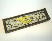 Goldfinch Tray - Bird Plate - Jewelry Dish - Valet Tray - Sgraffito Pottery - Ceramic Dish - Spoon Rest