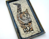 Calico Cat - Serving Platter – Decorative Tray - Sgraffito Pottery – Wedding Gift – Gift for Cat Lover