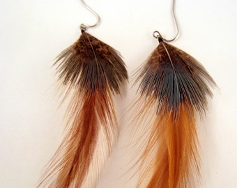 Natural pheasant and ginger rooster feather earrings