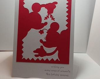 Mistletoe Mickey and Minnie Mouse Christmas Card - 5x7 - Magical Christmas