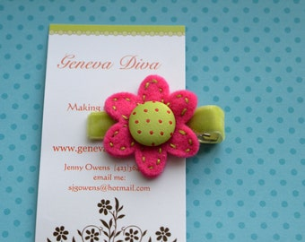 Pink and Lime Polka Dot Felt Flower Clip