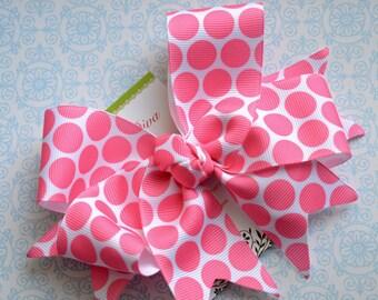 Bright Pink Bubble Gum Dots XL Diva Bow