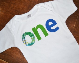 Green and Blue One Birthday Shirt / 1st birthday tee / READY TO SHIP / First birthday tshirt / Size 12 - 18 months / Boys 1st Birthday tee
