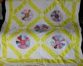 Antique c1920 Applique Dresden Plate Quilt Top