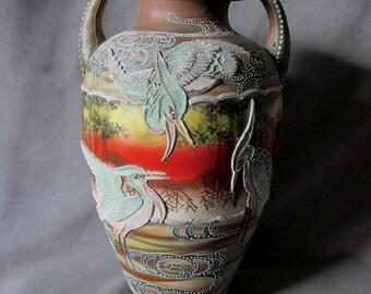 Antique Japanese Moriage Vase Crane, Stork Birds