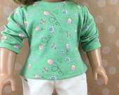 "American Girl Doll 18"" Dolls Handmade T Shirt Cotton Knit Top  Soft Green with Pink Ladybugs and Flowers"