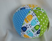 mini OWLS Cloth Jingle Ball Baby Toy with Anne Kelle's Urban Zoologie fabric