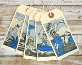 PIRATE Gift Tags, VINTAGE Storybook Hang Tags, Swing Tags, Birthday Tags, Daily Planner,  Journal Tags, Handmade, Set of 5