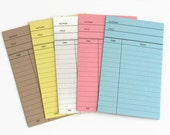 SHOP CLOSING - 10 x Library Book Cards, Blank Library Cards, Journal, Project Life, Daily Planner Cards, mixed colour pack - Clearance Sale