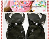 20% OFF Children Leather Sandals for Boys & Girls - Roxy Design - Handmade Toddler Sandals, Children Leather Flats, Black Children Leather S