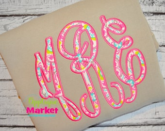 Machine Embroidery Grand Monogram Applique Satin Stitch Font  INSTANT DOWNLOAD